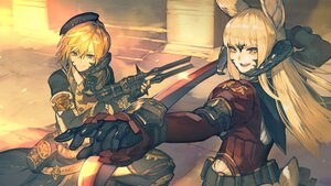 Rating: Safe Score: 32 Tags: 2girls animal_ears au_ra blonde_hair bunny_ears final_fantasy final_fantasy_xiv gloves gun hat hide_(hideout) horns katana long_hair orange_hair short_hair sword viera weapon yellow_eyes User: SciFi