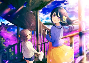 Rating: Safe Score: 52 Tags: 2girls achiki brown_hair cherry_blossoms clouds dress flowers long_hair orange_eyes original petals pink_eyes short_hair shorts sky stairs twintails windmill User: RyuZU