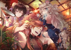 Rating: Safe Score: 37 Tags: animal black_hair blush brown_eyes chinese_clothes chinese_dress dress drink gray_hair long_hair lord_of_vermilion male mouse orange_hair ponytail short_hair tagme_(character) tattoo wink wristwear yue_(pixiv2547) User: RyuZU