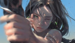 Rating: Safe Score: 626 Tags: aeolian_(wlop) black_hair bow_(weapon) close ghostblade green_eyes logo long_hair realistic watermark weapon wink wlop User: BattlequeenYume