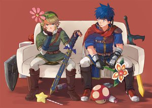 Rating: Safe Score: 67 Tags: blonde_hair blue_eyes blue_hair fire_emblem flowers ike_(fire_embmlem) link_(zelda) nikayu super_smash_bros. sword the_legend_of_zelda weapon User: STORM