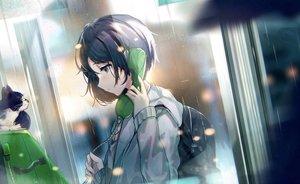 Rating: Safe Score: 49 Tags: animal cat hisao_0111 hoodie night original phone rain short_hair water User: BattlequeenYume