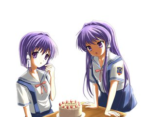 Rating: Safe Score: 22 Tags: cake clannad fujibayashi_kyou fujibayashi_ryou purple_eyes purple_hair seifuku strawberry twins white User: HawthorneKitty