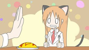 Rating: Safe Score: 41 Tags: 2girls animal_ears asahina_hiyori_(tattu) brown_hair catgirl food hakase_(nichijou) long_hair nichijou orange_hair tail tie User: PAIIS