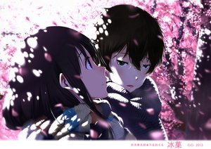 Rating: Safe Score: 245 Tags: cherry_blossoms chitanda_eru cici close flowers green_eyes hyouka male oreki_houtarou scarf User: opai