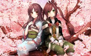Rating: Safe Score: 103 Tags: blush brown_eyes brown_hair cherry_blossoms green_eyes ichinose_yukino japanese_clothes kayo ken_ga_kimi long_hair male petals ponytail suzukake tree User: Flandre93