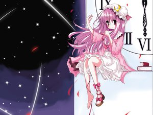 Rating: Safe Score: 20 Tags: blush book hat long_hair patchouli_knowledge pink_hair purple_eyes ribbons sky stars touhou User: Oyashiro-sama
