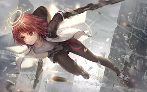 Rating: Safe Score: 62 Tags: arknights exusiai_(arknights) gloves gun halo jay_xu pantyhose red_eyes red_hair short_hair skirt weapon User: Dreista