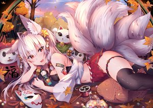 Rating: Safe Score: 123 Tags: animal_ears autumn bell blush breasts candy cat_smile cleavage doll drums fang food foxgirl garter instrument japanese_clothes leaves long_hair mask multiple_tails navel original red_eyes skirt tail taiyaki thighhighs usagihime white_hair User: Dreista