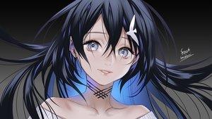 Rating: Safe Score: 37 Tags: black_hair close foo_midori gradient gray_eyes long_hair original signed User: RyuZU