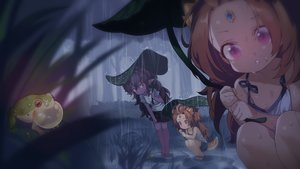 Rating: Safe Score: 65 Tags: animal black_hair brown_hair close dark dark_skin flat_chest forest frog leaves loli long_hair original pointed_ears purple_eyes rain red_eyes tail takotsu tree twins water wet User: otaku_emmy