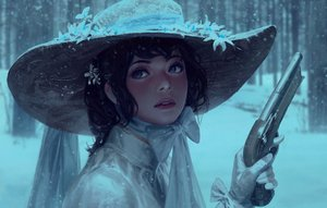 Rating: Safe Score: 47 Tags: black_hair blue_eyes bow forest gloves gun guweiz hat realistic ribbons short_hair snow tree weapon User: luckyluna