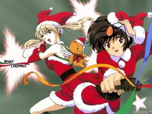 Rating: Safe Score: 12 Tags: blonde_hair blue_eyes brown_eyes brown_hair christmas gun mireille_bouquet noir weapon wink yuumura_kirika User: Oyashiro-sama