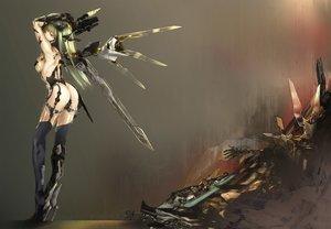 Rating: Questionable Score: 466 Tags: ass breasts green_hair gun kawanakajima original sideboob techgirl thighhighs weapon wings User: RyuZU