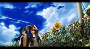 Rating: Safe Score: 46 Tags: amami_haruka black_hair brown_eyes brown_hair clouds flowers hat idolmaster kisaragi_chihaya nako_(nonrain) necklace sky sunflower User: austerely