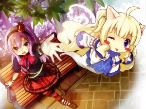 Rating: Safe Score: 25 Tags: animal_ears blonde_hair red_eyes skirt spirtie tagme thighhighs wink User: opai