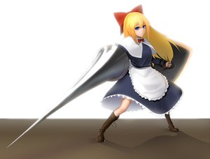 Rating: Safe Score: 17 Tags: blonde_hair blue_eyes boots bow doll long_hair maid minami_koyogi shanghai_doll touhou weapon User: RyuZU