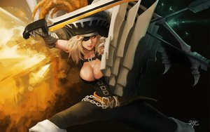 Rating: Questionable Score: 81 Tags: 21yc_(september_breeze) armor boots breasts chain cleavage eyepatch gloves hat mabinogi mabinogi_heroes signed sword weapon User: Flandre93