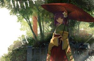 Rating: Safe Score: 110 Tags: aliasing hieda_no_akyuu japanese_clothes purple_eyes purple_hair shade short_hair shrine thkani torii touhou umbrella User: RyuZU
