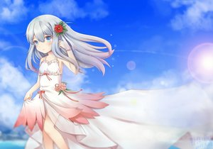 Rating: Safe Score: 17 Tags: aqua_eyes clouds dress eromanga-sensei gloves gray_hair izumi_sagiri loli long_hair ribbons sky tagme_(artist) User: RyuZU
