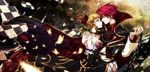 Rating: Safe Score: 67 Tags: beatrice blonde_hair butterfly chain dress hong_(white_spider) male red_hair umineko_no_naku_koro_ni ushiromiya_battler User: HawthorneKitty