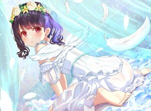 Rating: Questionable Score: 75 Tags: angel ass barefoot black_hair blush dress feathers fukumaru_koito headdress idolmaster idolmaster_shiny_colors nopan red_eyes see_through sky_cappuccino twintails wings User: Nepcoheart