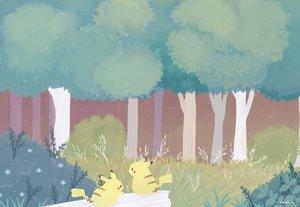Rating: Safe Score: 31 Tags: ayu_(mog) forest grass nobody pikachu pokemon scenic signed tree waifu2x User: otaku_emmy