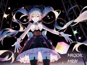 Rating: Safe Score: 35 Tags: dress gloves hatsune_miku headphones lococo:p long_hair magical_mirai_(vocaloid) thighhighs twintails vocaloid User: RyuZU