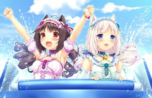 Rating: Safe Score: 81 Tags: 2girls animal_ears aqua_eyes bell brown_eyes brown_hair cat_smile chocola_(sayori) clouds flowers headdress long_hair nekopara rose sayori sky twintails vanilla_(sayori) white_hair wristwear User: RyuZU