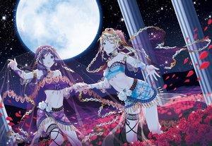 Rating: Safe Score: 68 Tags: 2girls ayase_eri flowers headdress lambobo love_live!_school_idol_project moon night rose stars toujou_nozomi User: sadodere-chan