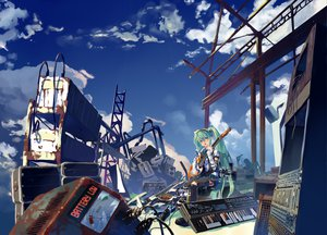 Rating: Safe Score: 61 Tags: blue_eyes blue_hair clouds guitar hatsune_miku instrument long_hair piano ruins vocaloid User: anaraquelk2