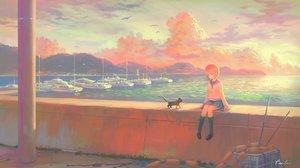 Rating: Safe Score: 62 Tags: animal bird boat cat clouds feel_(nasitaki) kneehighs orange_hair original scenic school_uniform short_hair signed skirt sky sunset water User: luckyluna