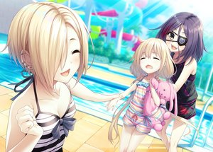 Rating: Safe Score: 54 Tags: blonde_hair blush breasts cleavage eyepatch fang futaba_anzu hayasaka_mirei idolmaster idolmaster_cinderella_girls loli long_hair pool shirasaka_koume short_hair shorts tagme_(artist) teddy_bear twintails water yellow_eyes User: RyuZU