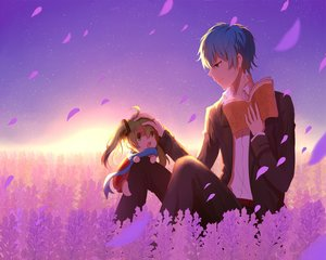 Rating: Safe Score: 48 Tags: blue_hair book fang green_eyes green_hair hatsune_miku kaito lan_jue long_hair male scarf shirt short_hair sky stars sunset twintails vocaloid User: humanpinka