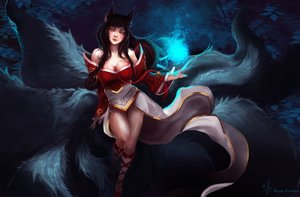 Rating: Safe Score: 69 Tags: ahri_(league_of_legends) animal_ears arcan-anzas black_hair breasts cleavage foxgirl kneehighs league_of_legends magic multiple_tails no_bra signed tail User: mattiasc02