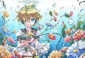 Rating: Safe Score: 16 Tags: all_male aqua_eyes blonde_hair bubbles flowers headphones kagamine_len male petals short_hair tagme_(artist) underwater vocaloid water User: RyuZU