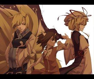 Rating: Safe Score: 54 Tags: animal_ears blonde_hair brown_hair catgirl chen foxgirl hat shiro_negi short_hair tail touhou yakumo_ran yakumo_yukari User: PAIIS