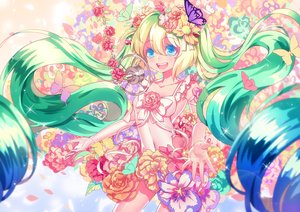 Rating: Safe Score: 61 Tags: blue_eyes butterfly flowers green_hair hatsune_miku long_hair microphone navel petals sougishi_ego twintails vocaloid User: Flandre93