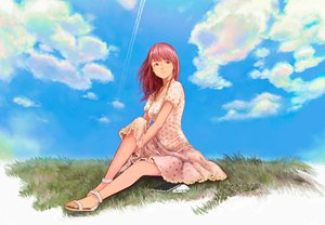Rating: Safe Score: 103 Tags: book clouds dress grass long_hair original red_hair sky yazu_ranko User: opai
