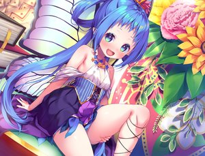 Rating: Safe Score: 84 Tags: aqua_hair asa_no_ha blue_eyes blush book corset dress fairy fang flat_chest flowers loli long_hair original pointed_ears sunflower wings User: sadodere-chan