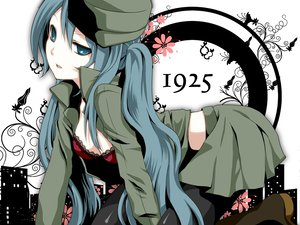 Rating: Safe Score: 104 Tags: 1925_(vocaloid) aqua_eyes bra cleavage hat hatsune_miku open_shirt twintails underwear uniform vocaloid yayoi_(egoistic_realism) User: HawthorneKitty