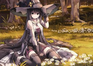 Rating: Safe Score: 103 Tags: black_eyes black_hair breasts cleavage corset flowers forest gloves grass hat long_hair nodata original skirt thighhighs tree witch_hat User: RyuZU