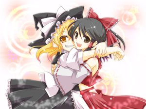 Rating: Safe Score: 27 Tags: black_hair blonde_hair brown_eyes dress hakurei_reimu haru_aki hat japanese_clothes kirisame_marisa miko short_hair touhou yellow_eyes User: HawthorneKitty