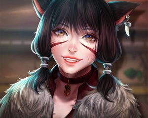 Rating: Safe Score: 62 Tags: black_hair brown_eyes catgirl choker close cropped enmoire final_fantasy final_fantasy_xiv miqo'te realistic scar short_hair tattoo User: SciFi