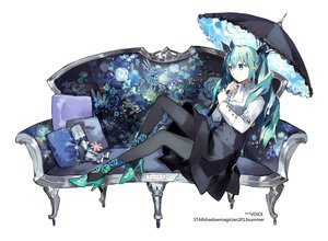 Rating: Safe Score: 116 Tags: blue_eyes blue_hair hatsune_miku long_hair starshadowmagician stockings twintails umbrella vocaloid User: opai