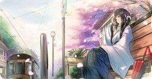 Rating: Safe Score: 121 Tags: black_eyes black_hair cherry_blossoms flowers japanese_clothes kikivi long_hair original petals train tree umbrella User: Flandre93
