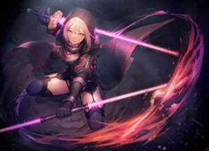 Rating: Safe Score: 147 Tags: armor blonde_hair elbow_gloves fate/grand_order fate_(series) garter_belt gloves hoodie lightsaber mysterious_heroine_x mysterious_heroine_x_alter nagu short_hair stockings sword thighhighs weapon yellow_eyes User: RyuZU