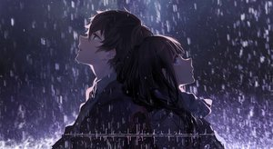 Rating: Safe Score: 144 Tags: blue_eyes chitanda_eru cici close dark green_eyes hyouka long_hair male oreki_houtarou rain short_hair water User: luckyluna