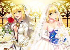 Rating: Safe Score: 94 Tags: 2girls blonde_hair breasts briska chain choker cleavage elbow_gloves fate/extra fate/extra_ccc fate_(series) fate/stay_night flowers gloves green_eyes headdress no_bra open_shirt rose saber saber_bride saber_extra signed wedding_attire User: Flandre93