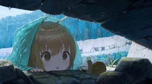 Rating: Safe Score: 160 Tags: brown_eyes brown_hair close hoodie loli original rain richard_viii short_hair water User: otaku_emmy